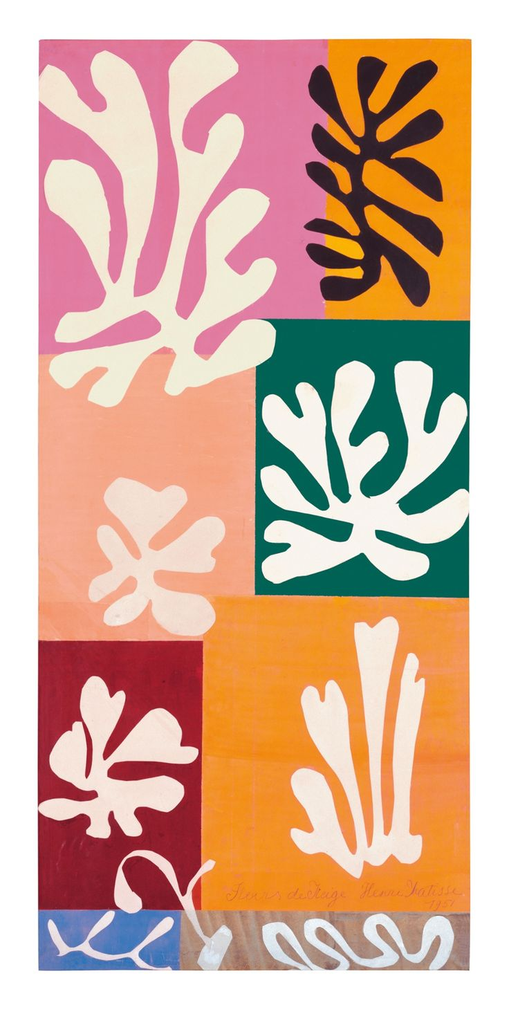 Planning to make a mobile inspired by Henri Matisse's Snow Flowers