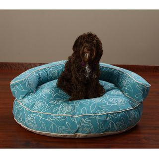 Crypton 'Bed of Roses' Blue 36-inch Bolster Dog Bed | Overstock.com Shopping - The Best Prices on Other Pet Beds