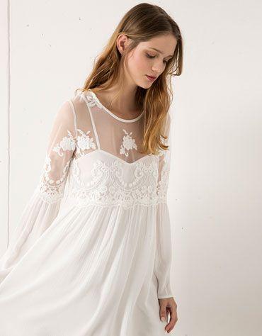 Bershka United Kingdom - Bershka embroidered dress with transparencies