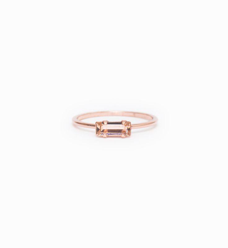 Rose Gold/Peach Tiny Baguette Ring
