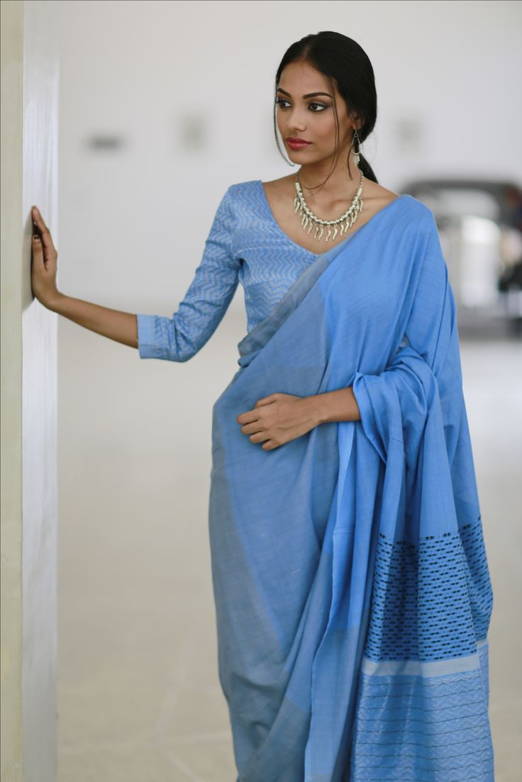 Blue feathers with a sheen  Saree inspired by feathers Hnadloom saree-shop at www.fashionmarket.lk