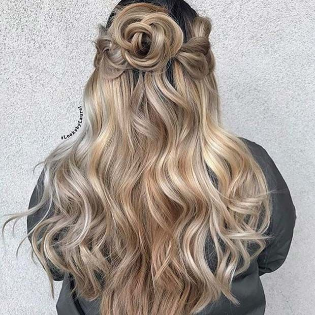 Curled Half Updo Hair Idea for Prom