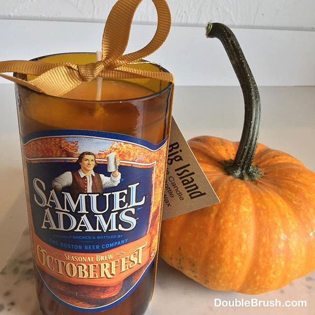 Samuel Adams Octoberfest Candle from Upcycled Sam Adams Bottle