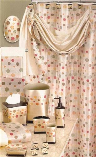 Sunset Dots Gold Shower Curtain With Valance