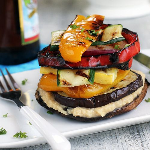 Grilled Vegetable Stack with Homemade Lemon Hummus | Recipe Flux