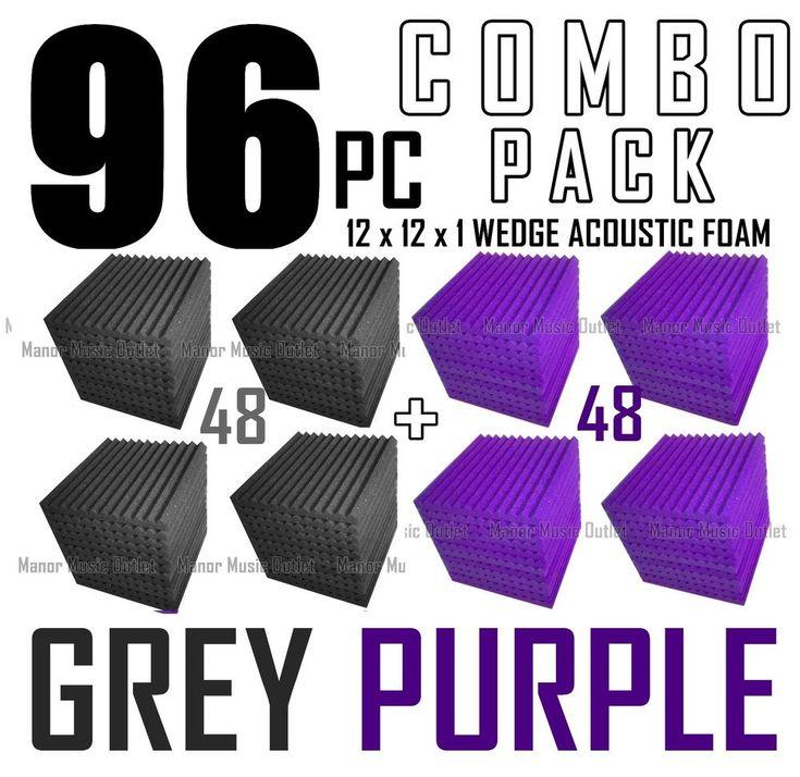 "Acoustic Foam Combo 96 pack Purple/Gray Wedge Soundproof Studio tiles 12x12x1"" #MMX"
