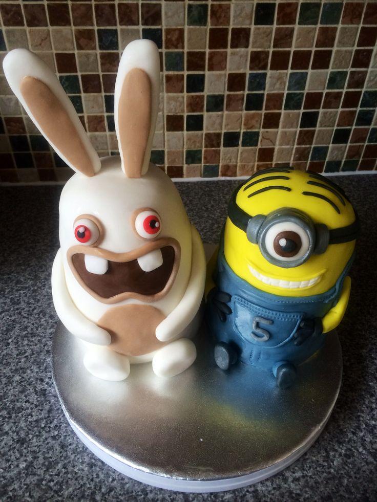 Ravin Rabbid & Minion cakes made for my son!! :)
