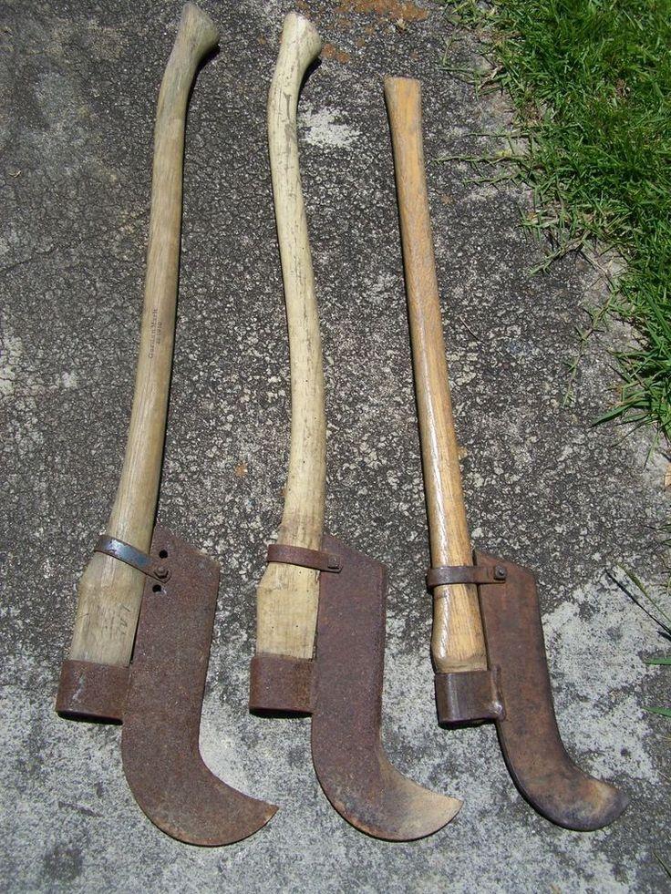 Antique Lot 3 Iron Bush Brush Axe Tool Wood Handles Wall