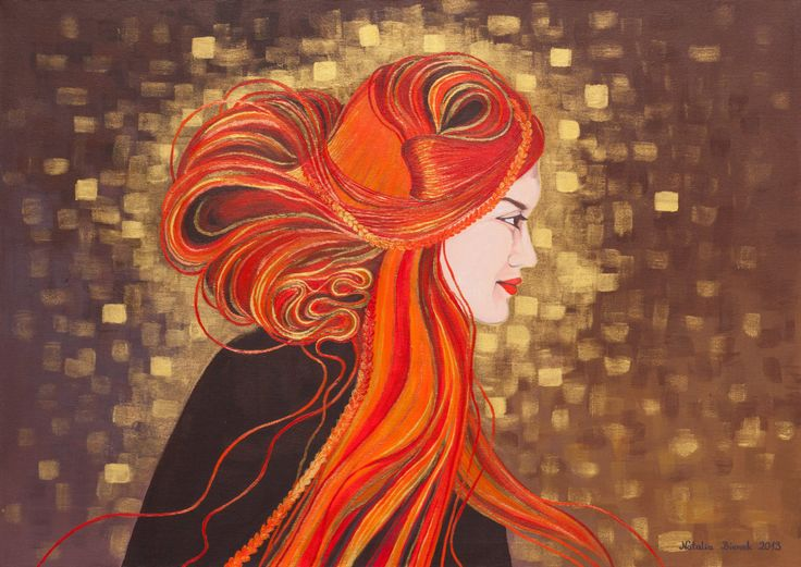 Original Painting,Fine art,The girl with red hair,Klimt style,Portrait,Inspired by Klimt,Gold,Art Deco,Art Nouveau,Wall Décor,Redhead Girl by BienekArt on Etsy