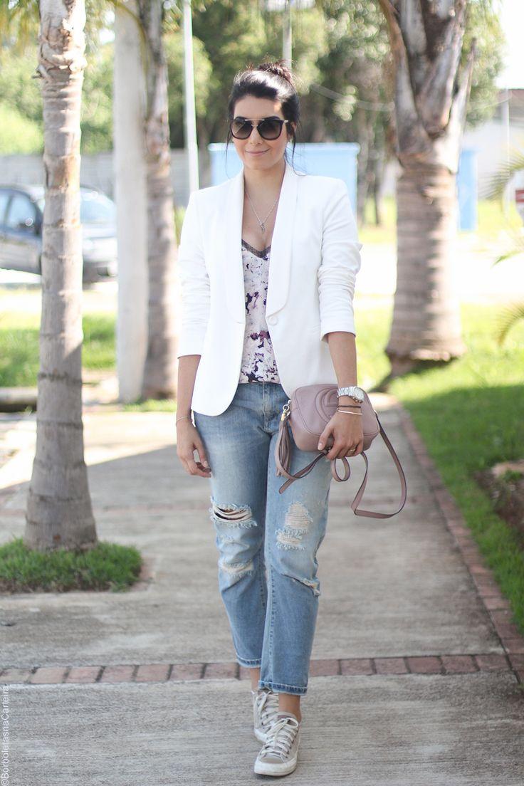 look boyish calça boyfriend blazer branco | Borboletas na carteira
