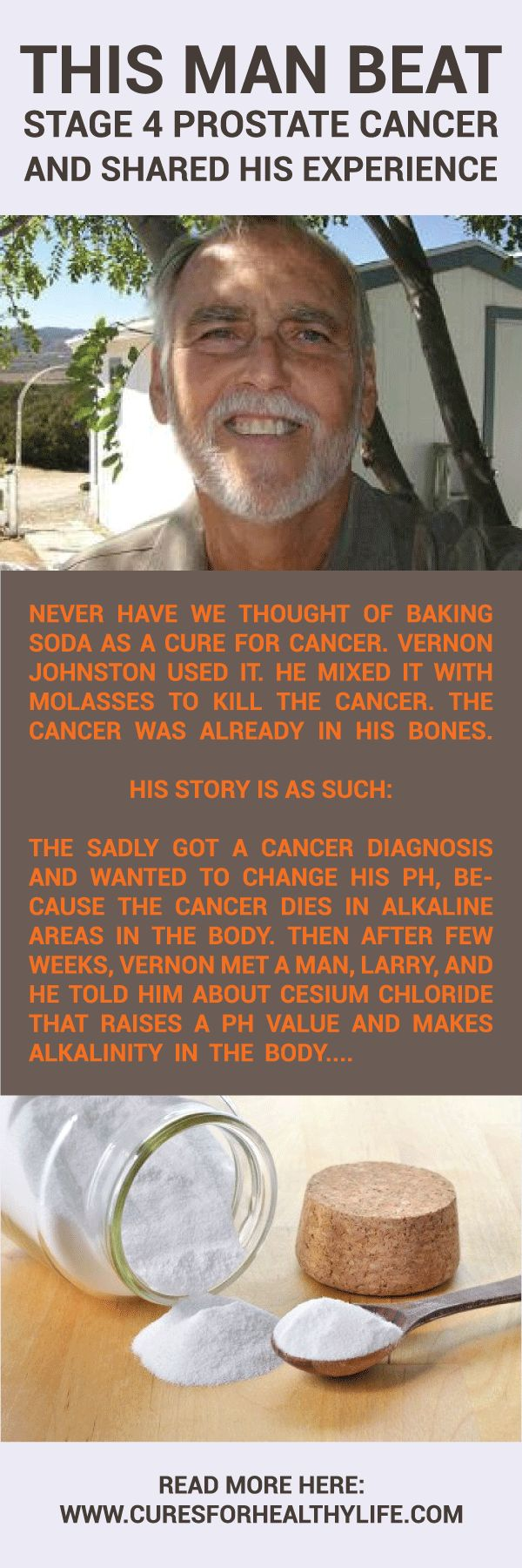 Never have we thought of baking soda as a cure for cancer. Vernon Johnston used it. He mixed it with molasses to kill the cancer. The cancer was already in his bones. HIS STORY IS AS SUCH: The sadly got a cancer diagnosis and wanted to change his pH, because the cancer dies in alkaline Continue Reading
