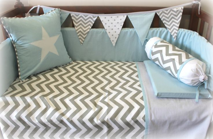 Cot | Nursery Linen in grey & white chevron & aqua. Designed by Tula-tu Baby Linen #cotlinen #nurserylinen #babylinen