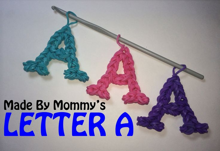Crochet - Loomless Letter A made using rubber bands, a basic crochet hook. Combine with my Letter D Charm to write DAD! No loom is required, but you can use the hook that comes with your Rainbow Loom, CraZLoom, Crazy Loom, Wonderloom, Fun Loom, Bandaloom or other