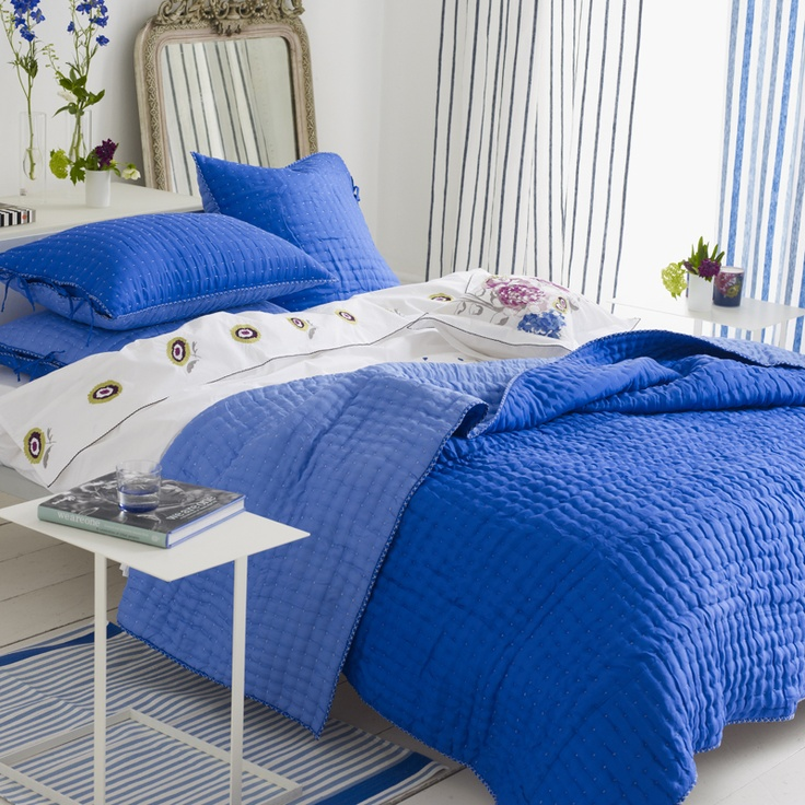Loving this cobalt blue bedspread. | Bedroom decor, Blue ...