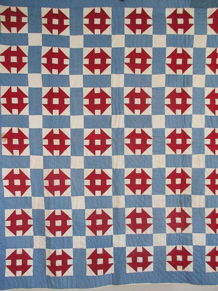 Vintage Antique Handmade Quilt Monkey Wrench 1920s Quilt Red White Blue Never US | eBay