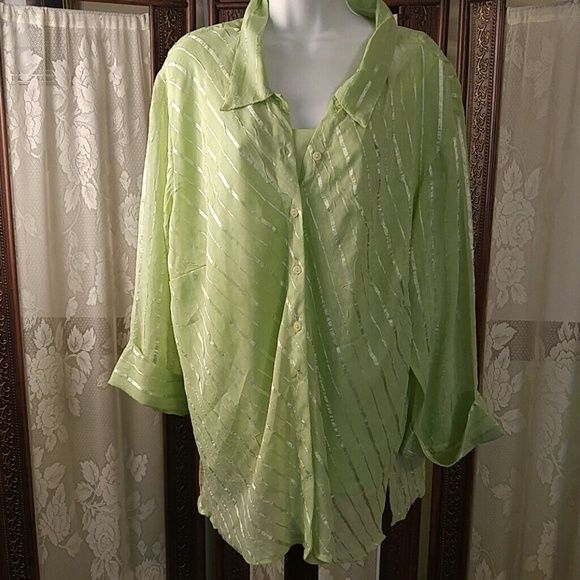 Green two piece shiirt Camisole and blouse long sleeve button down club collection Tops Blouses
