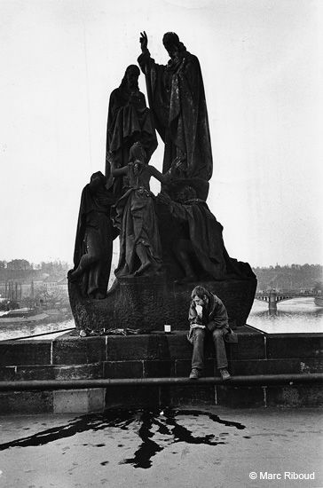 Man on a bridge, Prague, Czechoslovakia, 1977, photograph by Marc Riboud.
