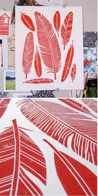 feather block print