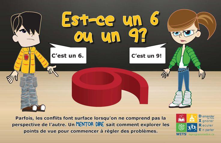 Est-ce un 6 ou un 9? Une affiche qui illustre l'importance de comprendre les différents points de vue dans un conflit. Trouvez des activités associées à leprogrammedire.ca.