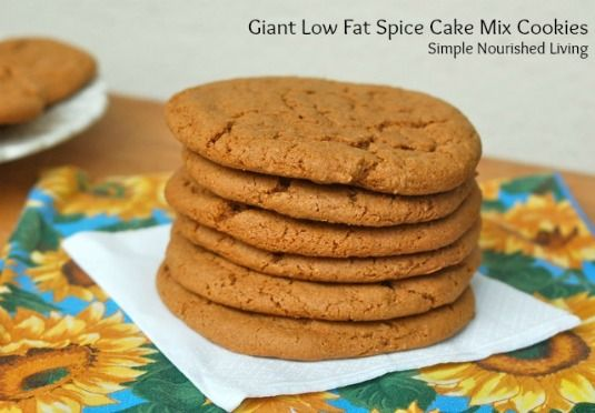 Giant Low Fat Spice Cake Mix Cookies - 6 PointsPlus #low fat #cookies
