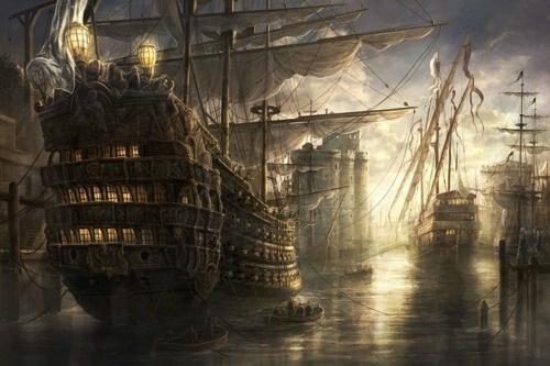 ships: Pirates Ships, La Rochel, Digital Paintings, Artworks, Concept Art, Tall Ships, Digital Art, Conceptart, Shower Curtains