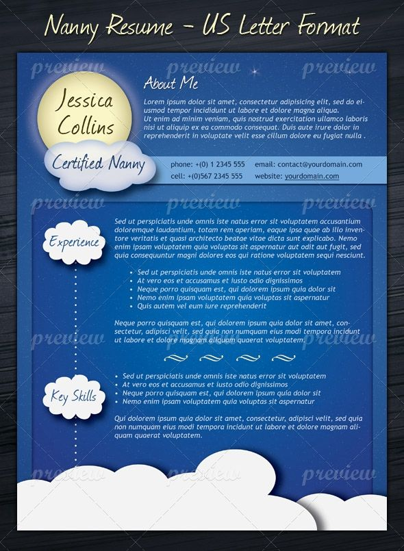 nanny resume template  us letter layout  suits to all kind