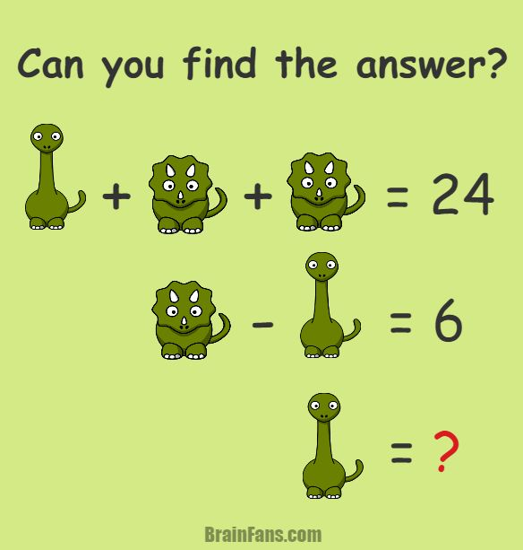 Brain teaser - Number And Math Puzzle - animal puzzle for math stars - Can you find the answer? There are two animals - triceratops and brontosaurus. I bet you know all of them. Nevertheless, do you also know the answer for this number math puzzle? Maybe it's not that straightforward.