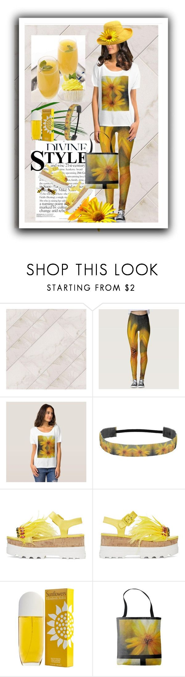 """The Yellow Sunflower"" by sgolis ❤ liked on Polyvore featuring Miu Miu, Elizabeth Arden, Scala, yellow, summeroutfit, yellowoutfit, zazzke and patternlegging"