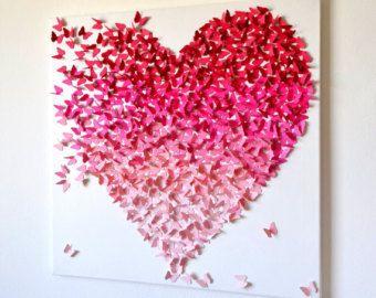 3D Pink Ombre Butterfly Heart/ 3D Butterfly Art / Nursery Decor /Girl's  Room Art / Engagement / Wedding Gift /Romantic Art - Made to Order