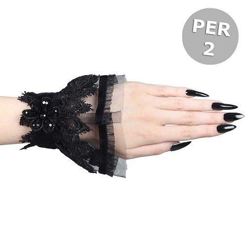 Laine geplooide Venetiaans kanten en tule pols armbanden met bloem detail zwart - Victoriaans Gothic Halloween - Per paar - Sinister