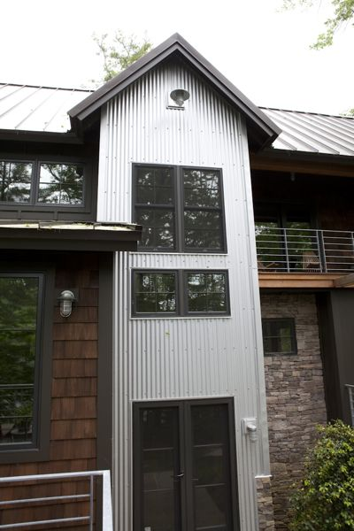 front entry  standing seam metal roof,corrugated galvanized metal siding