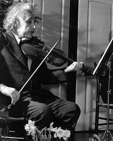 Albert Einstein playing the violin, he had a great love for music.