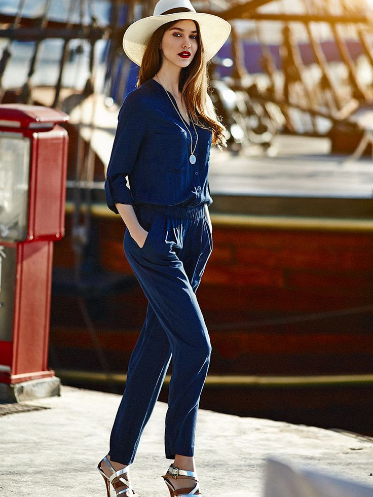 navy blue buttoned maxi bodysuit with pockets