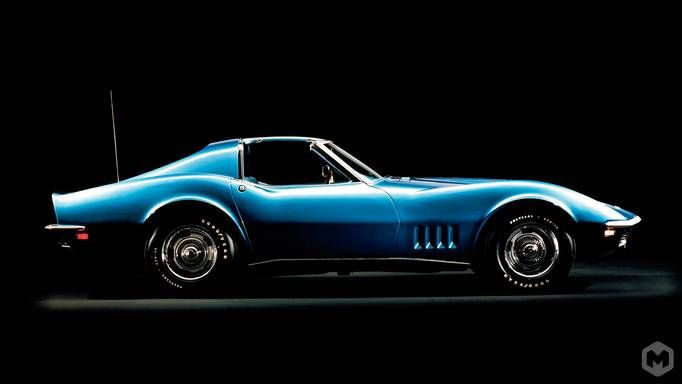 Old School Chevy Corvette Wallpaper - Blue - Side View