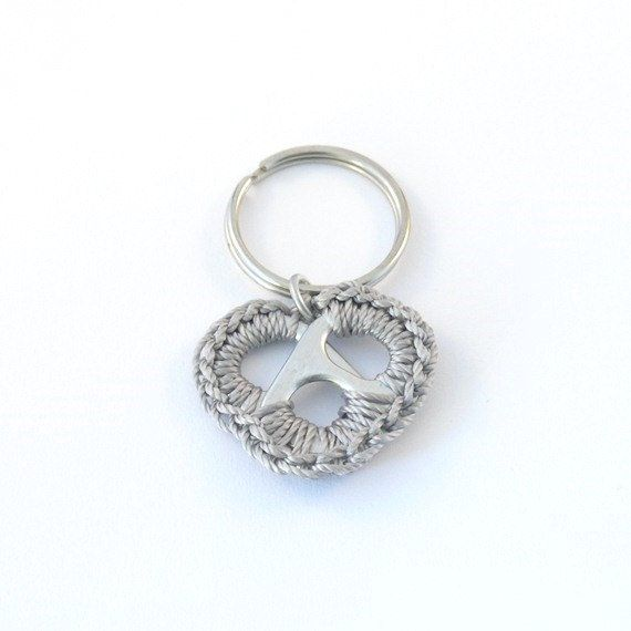 grey heart keychain crochet pop tab heart metal color by ringcat, $7.00