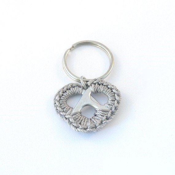 grey heart keychain crochet pop tab heart metal color by ringcat, $7.00