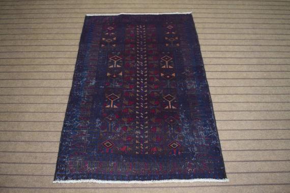 94 cm x 143 cm  3.1/' x 4.7/' Size Antique Vintage oriental handknotted rug blue antique rugAccent rugblue vintage rug