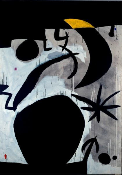 Joan Miró, Donna e uccelli nella notte, 1969-1974, Acrilico su tela, 243,5 x 173,8 cm, Barcellona, Fundació Joan Miró © Succession Miró, by SIAE 2010