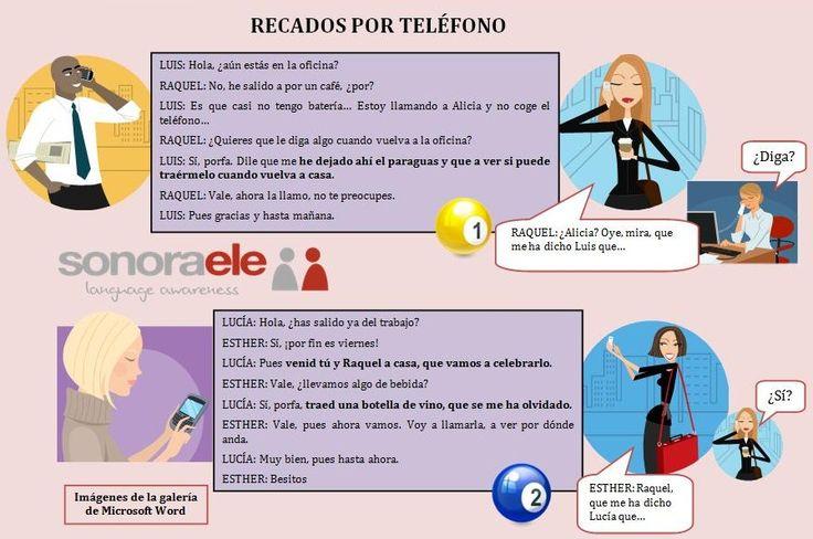 B1 - Estilo indirecto: Lee estas conversaciones telefónicas y escribe los mensajes.