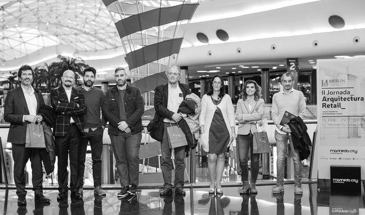 II Jornada De Arquitectura Retail organizada por Merlín Propierties en Marineda City (La Coruña) - 15 Febrero 2018. Ramon Ramirez (socio fundador de B+R Arquitectos) en el centro de la fotografía como participante de la mesa redonda presentando #XMadrid, el nuevo Centro Comercial.  Foto por Marineda City