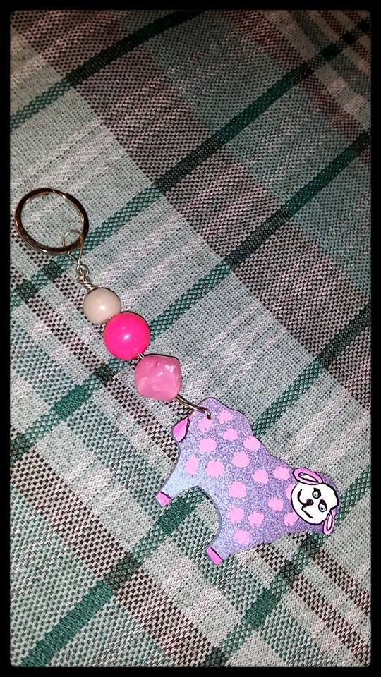 Hand painted pink and purple polka dot sheep painted on a wood sheep beaded, wire and key ring ooak