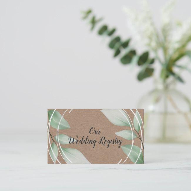 Kraftpapier-rustikale Aquarell-Laub-Hochzeits-Register-Visitenkarte | Zazzle   – Brochure Mockups Business Cards