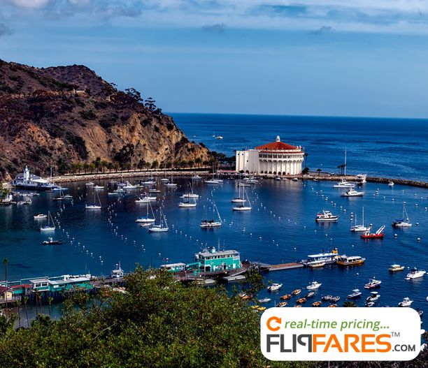 Santa Catalina, one of California's Channel Islands, lies southwest of Los Angeles.   #bay #coast #harbor #island #ocean #sea #sky #town #water #boats #port #flights #flipfares #airfares