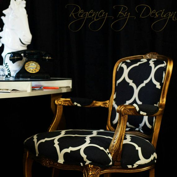 Gorgeous gold Louis XV styled armchair, hand painted and upholstered in white and black large damask print fabric. Dimensions: coming soon