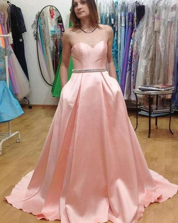 Sweetheart Long Pink Satin Prom Dress with Pockets PM1442 – Long Dresses for Prom