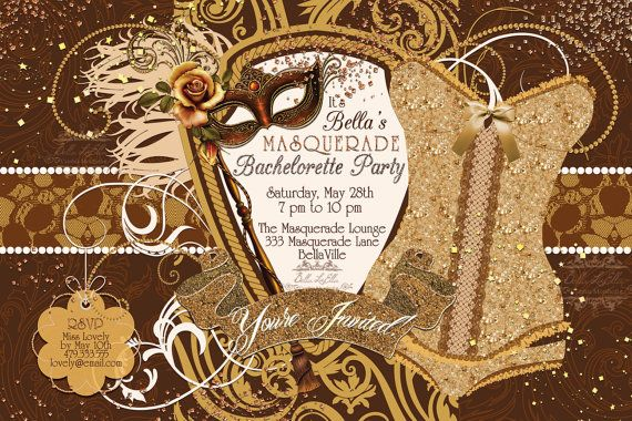 Gorgeous Masquerade Bachelorette Party Invitation by BellaLuElla on Etsy, $10.00