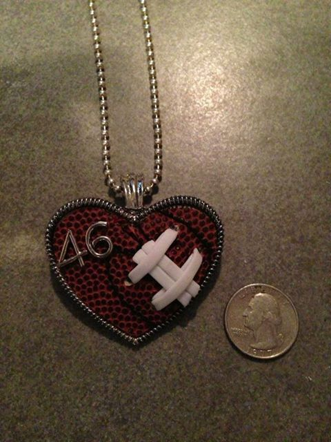 Football Softball and Baseball Heart Pendant with real sports balls used. via Etsy