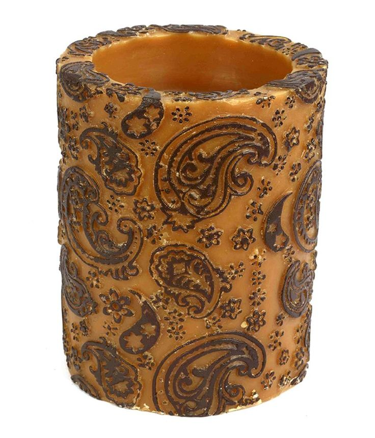 THT Living Brown Wax Paisley  Recessed Pillar Candle, http://www.snapdeal.com/product/tht-lifestyle-brown-wax-paisley/1101077982