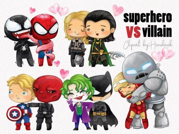 Superhero Vs Villains Clip Art Instant Download Png File 300 Etsy Clip Art Superhero Villain