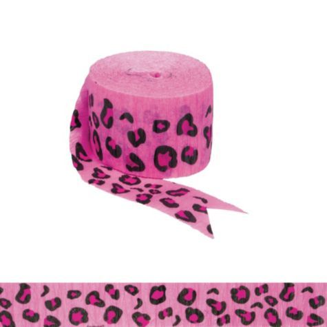 Bright Pink Leopard Print Crepe Streamer - Party City - PURPLE TOO!!!